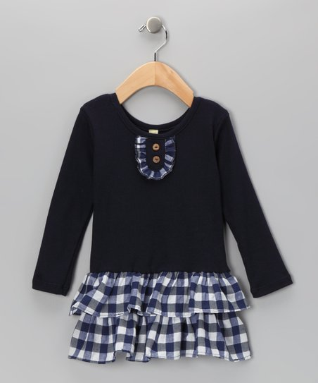 Navy Plaid Tiered Dress - Infant, Toddler & Girls