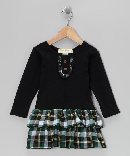 Black & Green Plaid Tiered Dress - Infant, Toddler & Girls