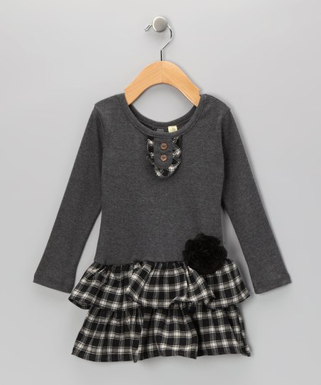 Gray Plaid Corsage Tiered Dress - Infant, Toddler & Girls
