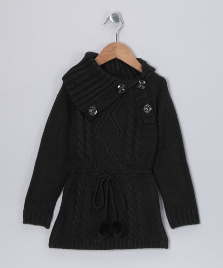 Black Alison Sweater Dress - Girls