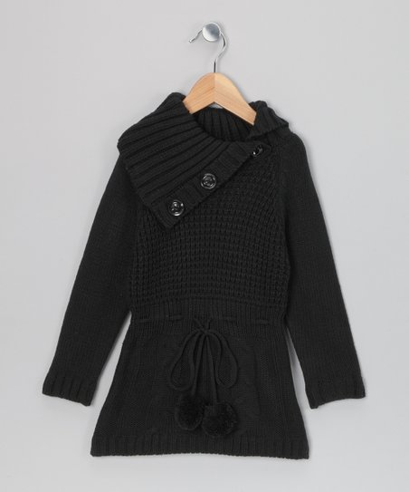Black Sasha Sweater Dress - Girls