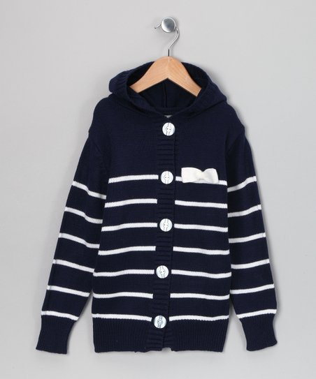 Navy Celeste Stripe Cardigan - Toddler & Girls