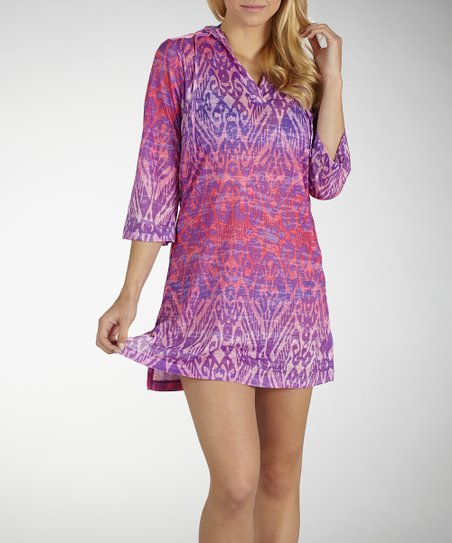 Sorbet Purple & Pink Hooded Burnout Cover-Up