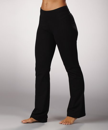 Black Tummy Control Flat-Waist Yoga Pants