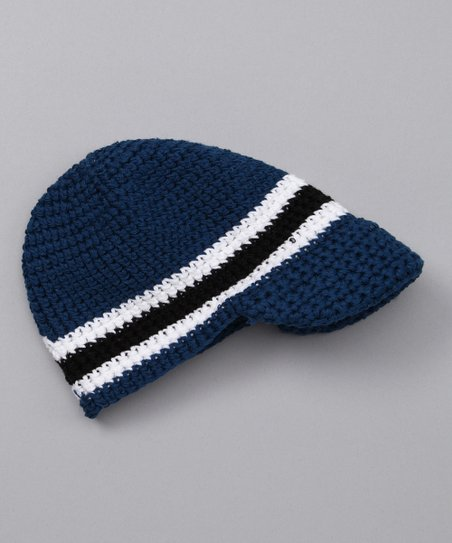 Blue Stripe Crochet Brimmed Beanie