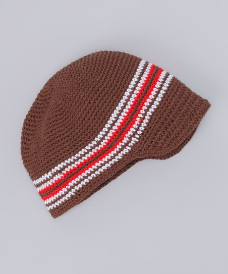 Brown Stripe Crochet Brimmed Beanie