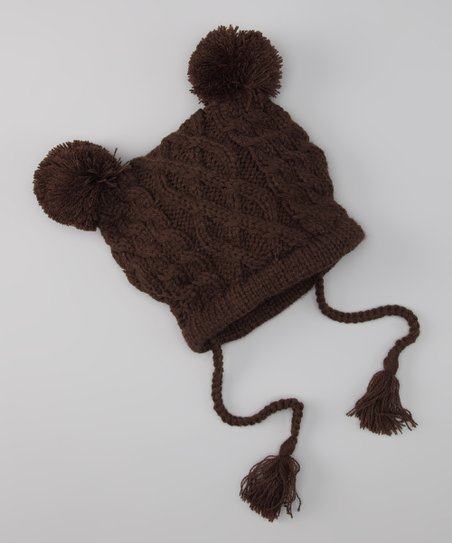 Brown Lil' Bear Cable-Knit Beanie