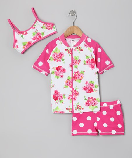 Pink Rose Rashguard Set - Toddler & Girls