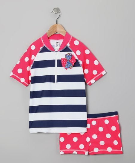 Navy Stripe & Red Polka Dot Rashguard Set - Girls