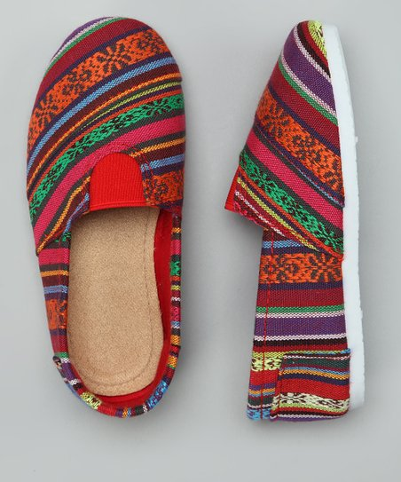 Red Tribal Stripe Wrapped Panel Flat