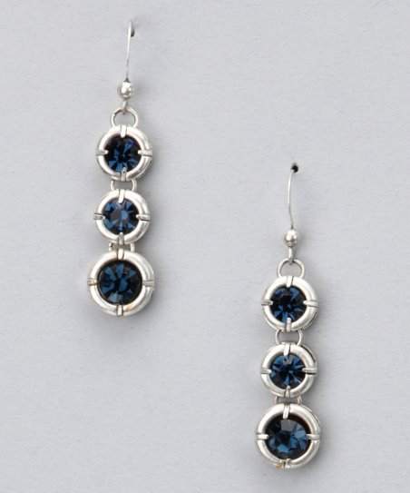 Silver & Dark Blue Dangle Earrings