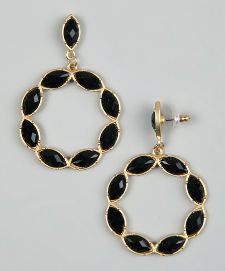 Gold & Black Stone Circle Earrings