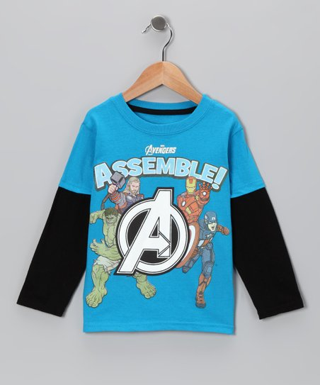 Blue 'Avengers Assemble' Layered Tee - Toddler