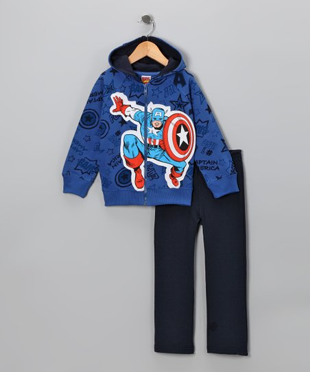 Blue 'Captain America' Zip-Up Hoodie & Pants - Toddler