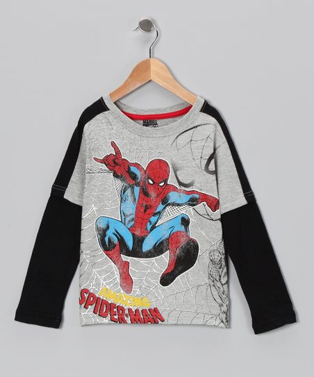 Gray 'Spider-Man' Layered Tee - Boys