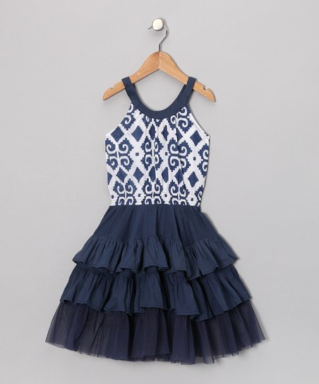 Indigo Ikat Tiered Dress - Toddler & Girls
