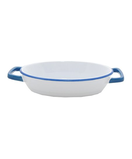 White & Blue Enamour Oval Baker