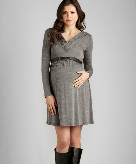 Heather Charcoal Ruched Maternity V-Neck Dress