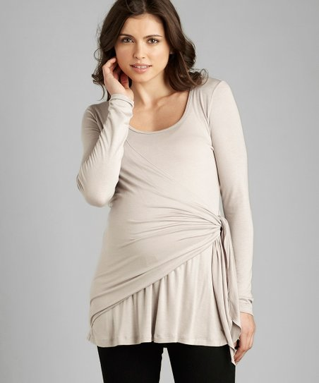 Silver Side-Tie Maternity Top