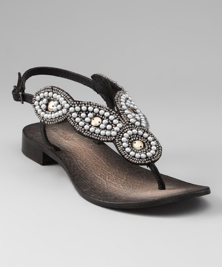 Black Boerne Beaded Sandal