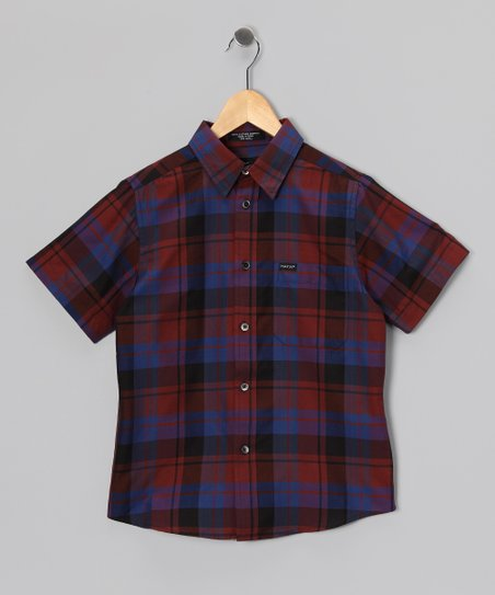 Black Arneld Short-Sleeve Button-Up - Boys