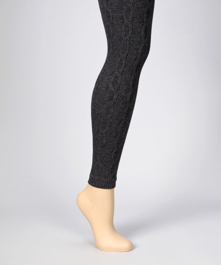 MeMoi Dark Heather Gray 3-D Cable-Knit Leggings