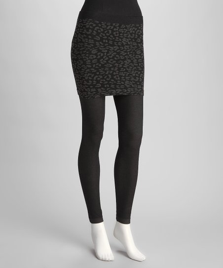 Black Leopard Skirted Leggings - Women