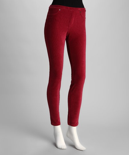 Red Thin Ribbed Corduroy Leggings - Women