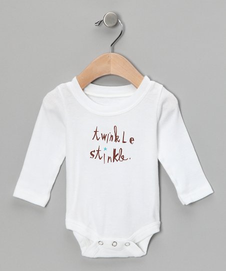 White 'Twinkle Stinkle' Long-Sleeve Bodysuit - Infant