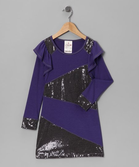 Purple Zigzag Sequin Dress - Girls