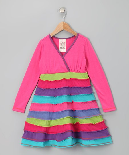 Fuchsia Horizon Surplice Dress - Toddler
