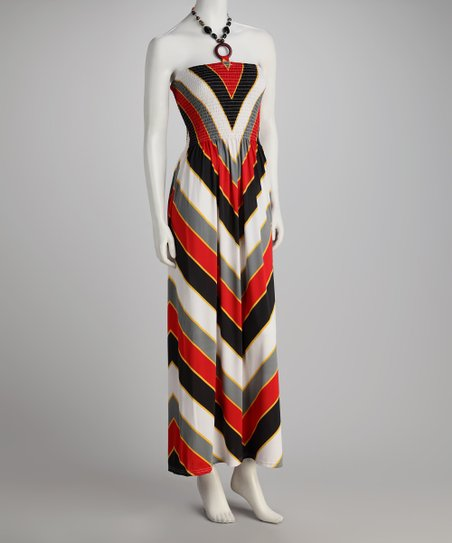 Red Chevron Halter Maxi Dress