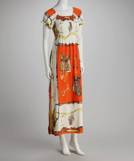 Orange Purse Peasant Maxi Dress