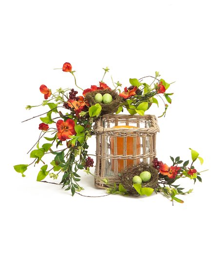 Orange & Red Pansy Nest Candle Centerpiece