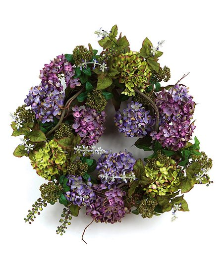 Purple &amp; Green Hydrangea Berry Wreath 