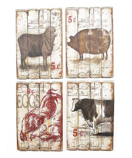 Farm Animal Wall Plaque Set