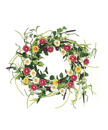 Pink & Yellow Flower Wreath