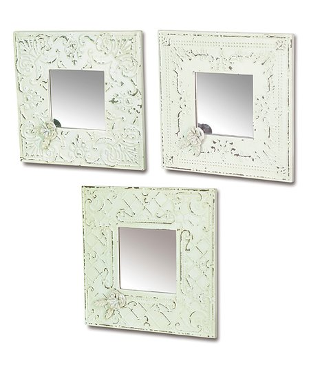 White &amp; Blue Metal Mirror Set