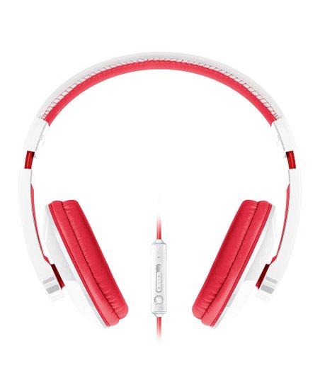 White & Red Large Urban Beatz Microphone Headphones