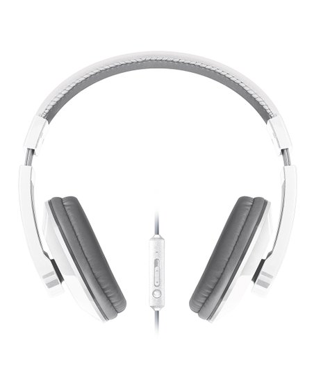 White & Gray Large Urban Beatz Microphone Headphones