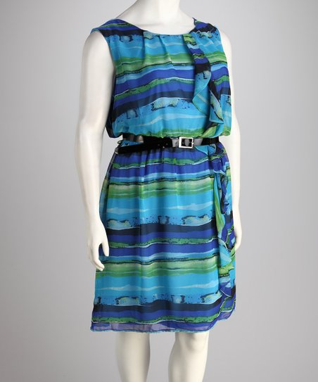 Blue Stripe Dress - Plus