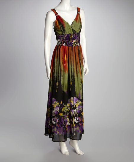 Green & Purple Abstract Floral Maxi Dress