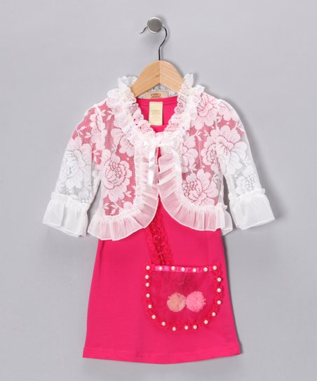 Hot Pink & White Pearl Pocket Dress & Bolero - Toddler