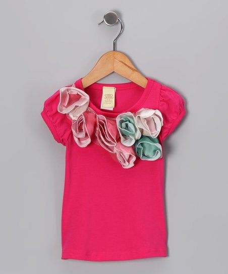 Hot Pink & Green Rosette Tee - Toddler & Girls