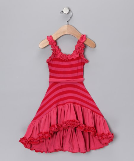 Hot Pink Stripe Ruffle Dress - Toddler & Girls
