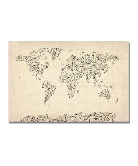 Music Note World Map Gallery-Wrapped Canvas