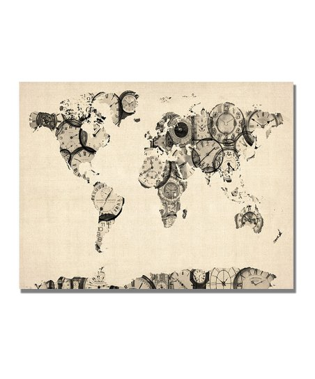 Old Clocks World Map Gallery-Wrapped Canvas