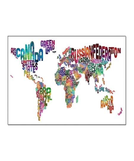 Vibrant Typography World Map Gallery-Wrapped Canvas