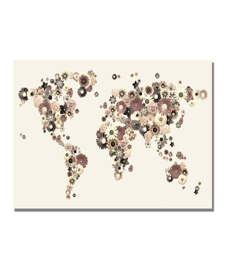 Flowers World Map Gallery-Wrapped Canvas