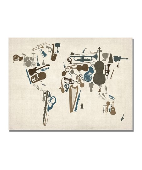 Instrument World Map Gallery-Wrapped Canvas